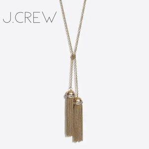 NWT J. Crew tassel rhinestone lariat long necklace